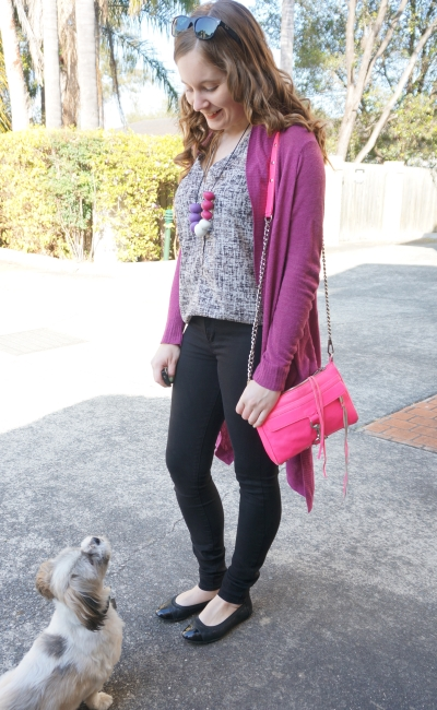Pink and purple accessories cardigan mini mac with printed tank black skinny jeans spring shopping outfit | AwayFromBlue