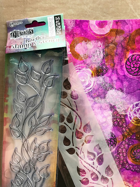 building a mixed media page with Dylusions shimmer spray, Zebra pens, and Hahnemühle Bamboo mixed media paper