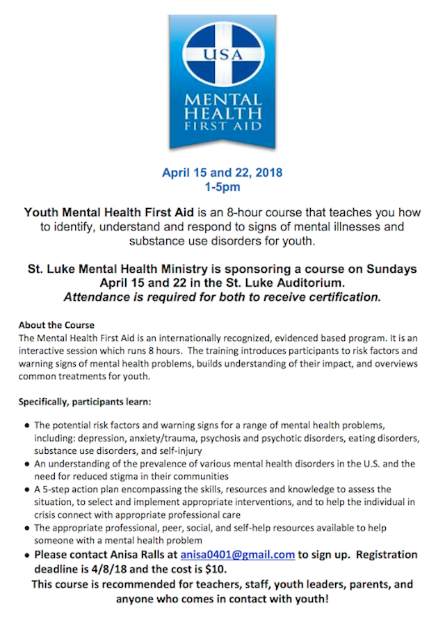 Shoreline Area News Youth Mental Health First Aid Training At St Luke