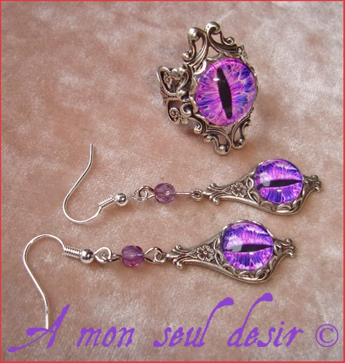 Parure Oeil Yeux violet Bague Boucles D'Oreilles Bijoux cyclope purple cat snake eyes ring earrings set Jewels Jewellry