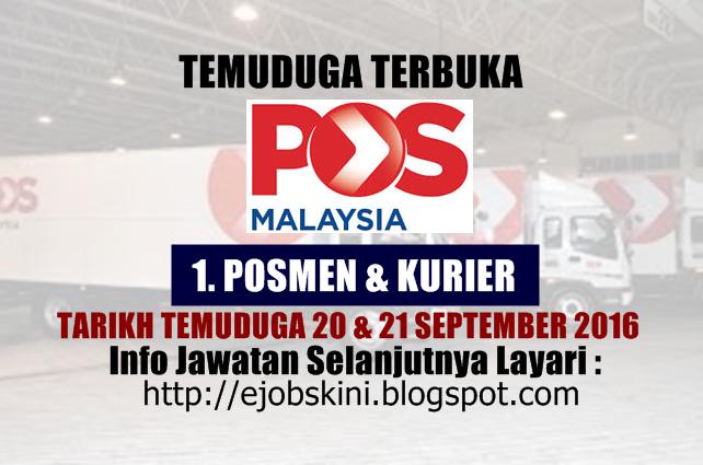 Temuduga terbuka di pos malaysia berhad september 2016
