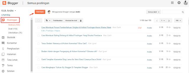 Membuat Postingan Baru di Blogger