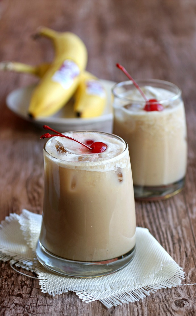 Recipe for a frozen banana and coffee drink with both an alcoholic and non-alcoholic option.