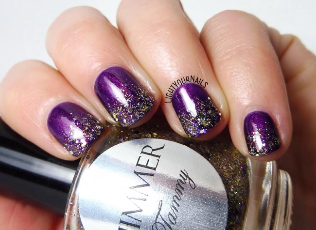Purple and glitters gradient nail art