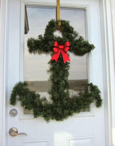 Christmas door with nauical wreath