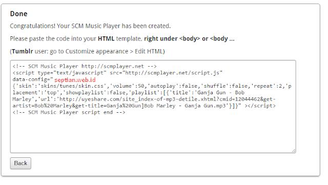 script html memasang lagu di blog