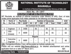 NIT Rourkela Recruitment 2017, www.nitrkl.ac.in