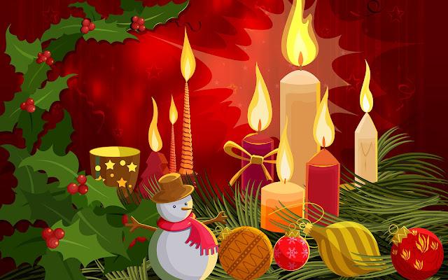 Brandende kaarsen en kerstspullen in 3D