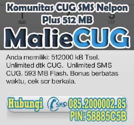 Cara Daftar Komunitas CUG SMS Nelpon Plus 512 MB MalieCUG
