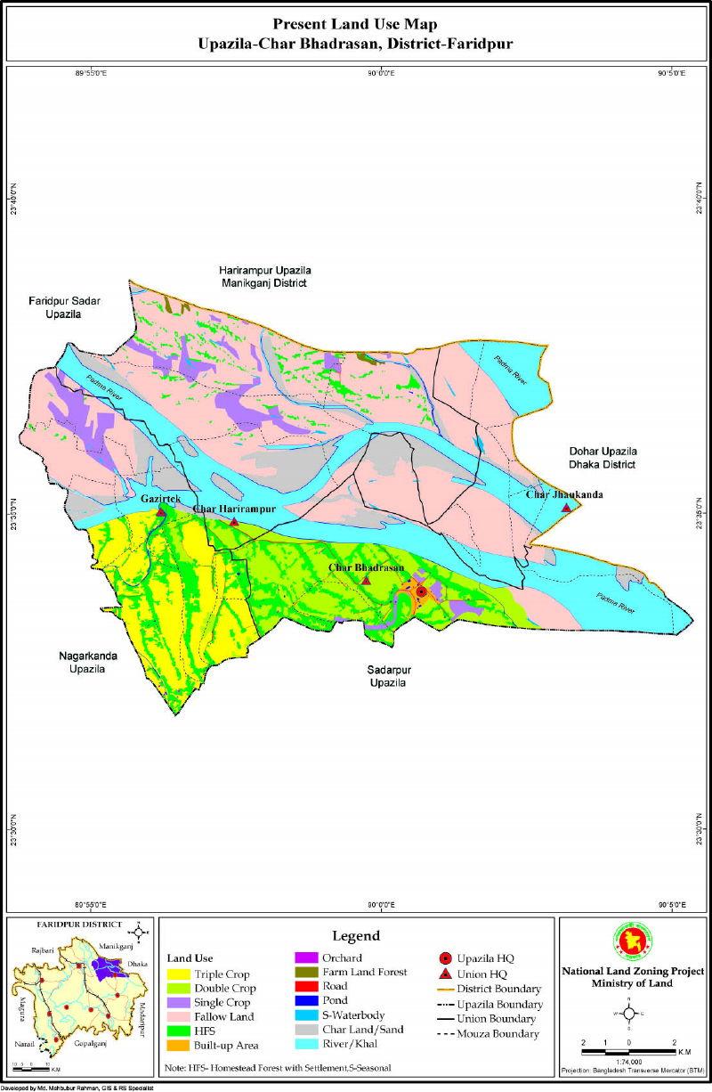 Charbhadrasan Upazila Mouza Map Faridpur District Bangladesh