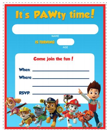 Paw patrol free printable invitations oh my fiesta in for Paw patrol invitation template free