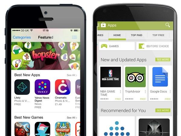 perbedaan tampilan App Store dan Google Play