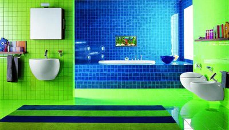 Foundation dezin decor 12 modern bright bathroom for Bright bathroom sets