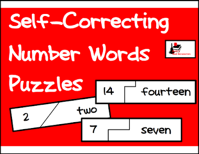 Free number words self correcting puzzle from Raki's Rad Resources.