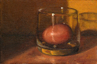 Oil painting of an egg inside an Old Fashioned Glass.
