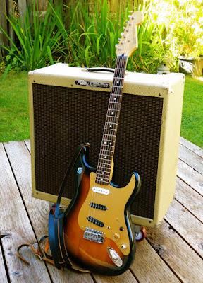 Fender Partsocaster, Franken-caster, skinny strap, rosewood fingerboard Stratocaster, gold, anodized pickguard, tweed amp, tube amplifier