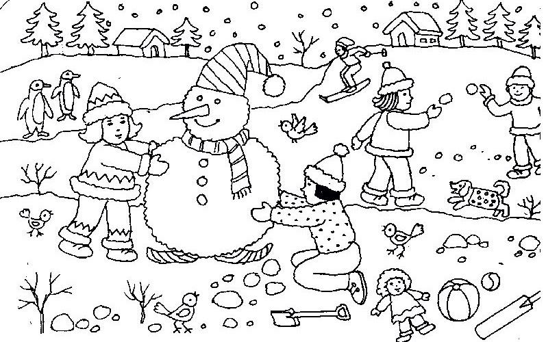 Tranh tô màu thiếu nhi vui chơi với người tuyết
