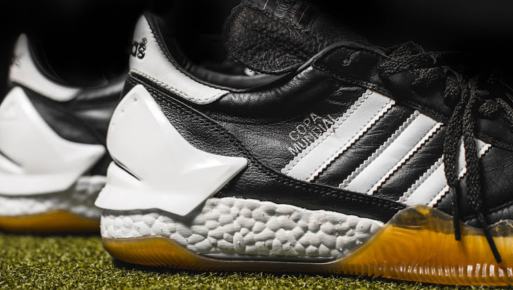 best website 1c0c7 e696b ... fold-over tongue of the Adidas Copa Mundial football boots with a Boost  midsole and the outsole of the D Rose 7 to create the ultimate classic  5-a-sided ...