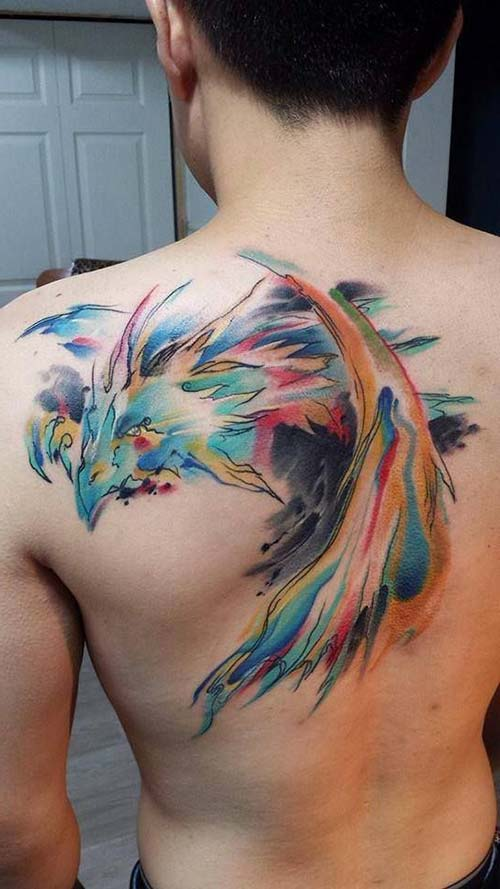 man back watercolor dragon tattoos renkli ejderha dövmeleri