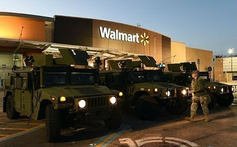 Military Vehicles At A Walmart Store
