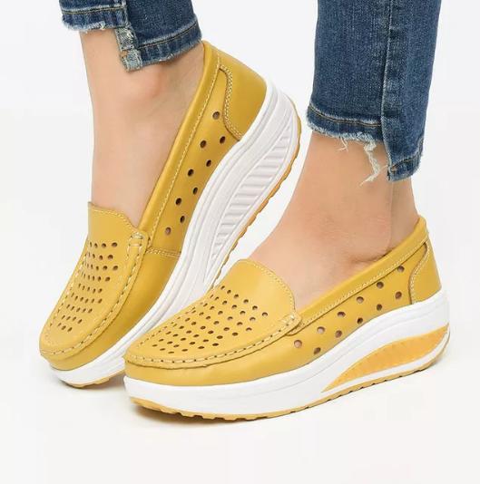Pantofi casual femei moderni galbeni ieftini piele naturala