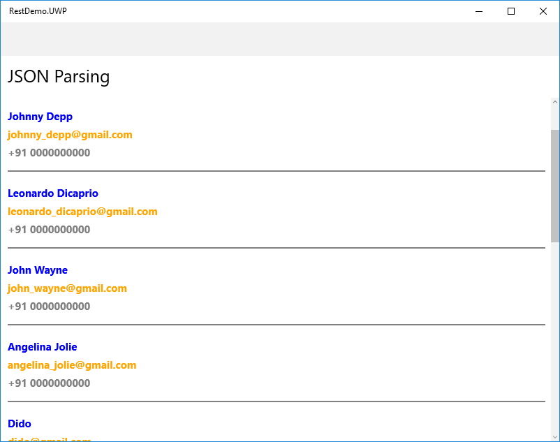 Xamarin Forms: Consuming Rest Webservice - JSON Parsing (C# - Xaml