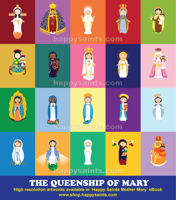 Happy saints 2016 the queenship of mary 22 august fandeluxe Images