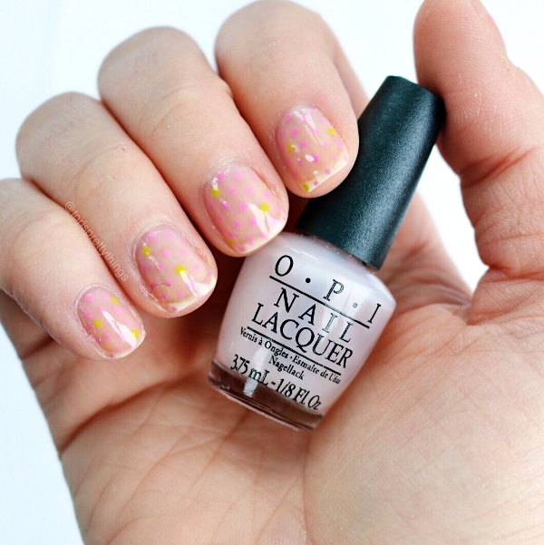 Negative Space Spring Dotticure Nail Art, OPI In the Spot-Light Pink - Tori's Pretty Things Blog