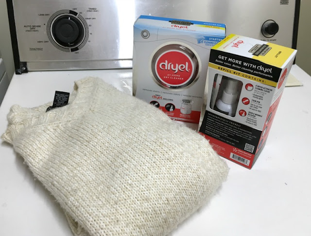 Let me introduce you to Dryel At-Home Dry Cleaner. For around $10, you get the Dryel fabric care bag, four cleaning clothes, Stain pen, and Odor & wrinkle releaser, which will clean up to 20 items.