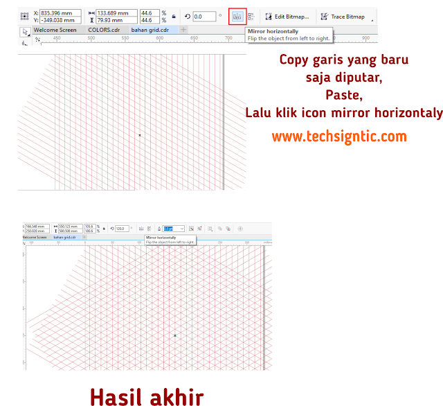 Making grid for isometric art in CorelDraw 7