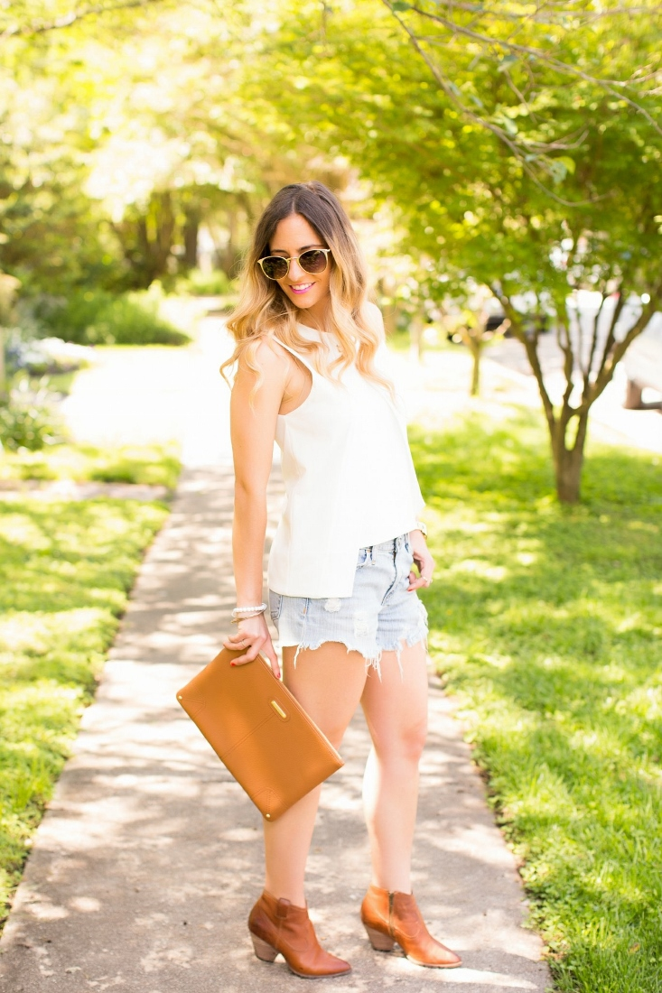 cutoff denim shorts with brown leather booties