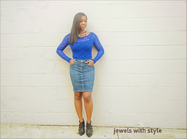 best skirt for your body type, jewels with style, jean pencil skirt, denim pencil skirt, blue lace shirt, black booties, statement jewelry, rachel roy skirt, hourglass figure, black fashion blogger, lace shirt