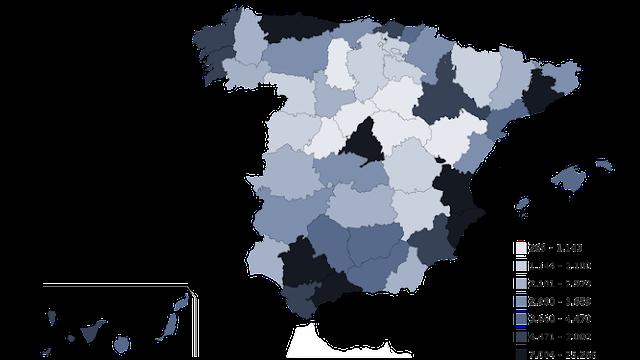 Mapa de España con las provincias coloreadas, de más claro a más oscuro, según el número de fallecidos en el año 2017