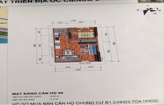 Sơ đồ thiết kế căn hộ 08 chung cư B1.3 HH03C Thanh Hà Cienco 5