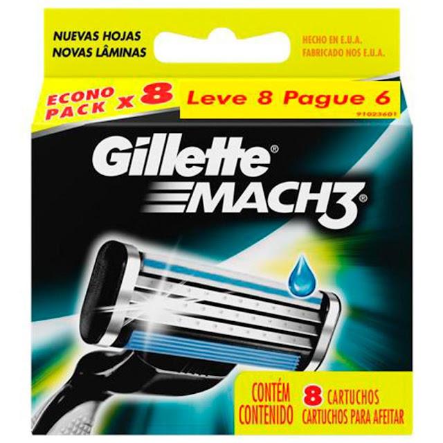 Gillette Mach3 é um aparelho de barbear projetado especialmente com três lâminas de corte-diamante