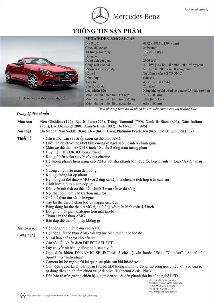 Bảng thông số kỹ thuật Mercedes AMG SLC 43 2018 tại Mercedes Trường Chinh