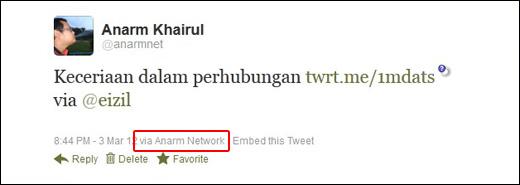 Tweet via Anarm Network