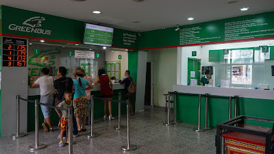 Green Bus ticket counter inside Arcade bus terminal
