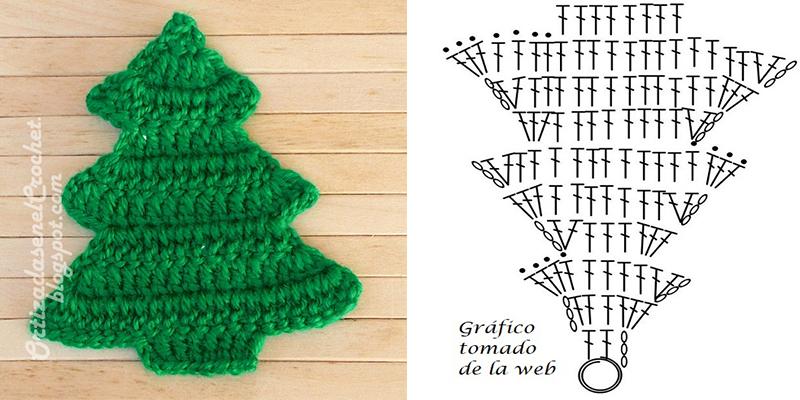 Aplique árbol de navidad y gráfico   Ortizadas en el Crochet