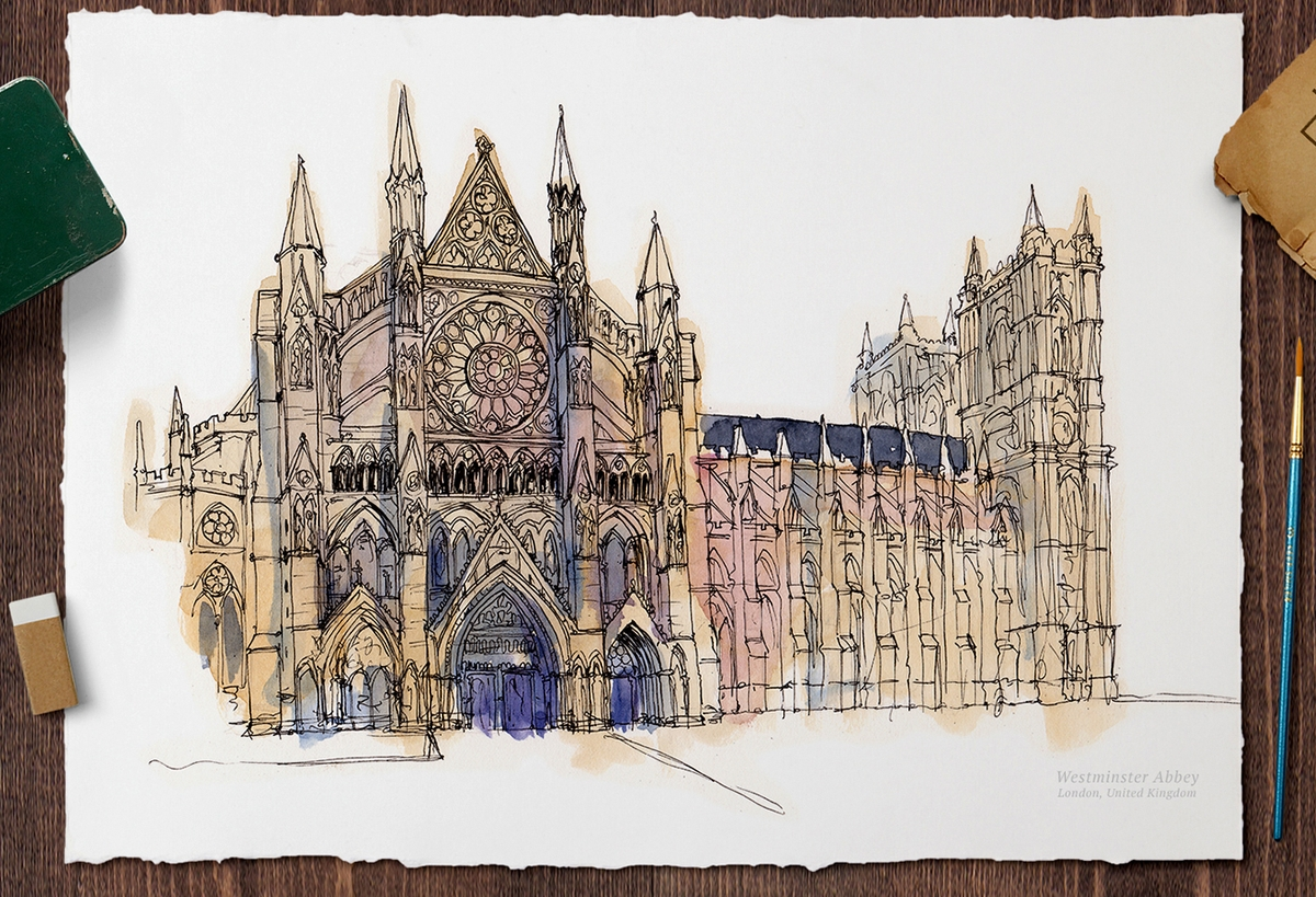 16-Westminster-Abbey-UK-Mucahit-Gayiran-Architectural-Landmarks-Watercolor-Paintings-www-designstack-co