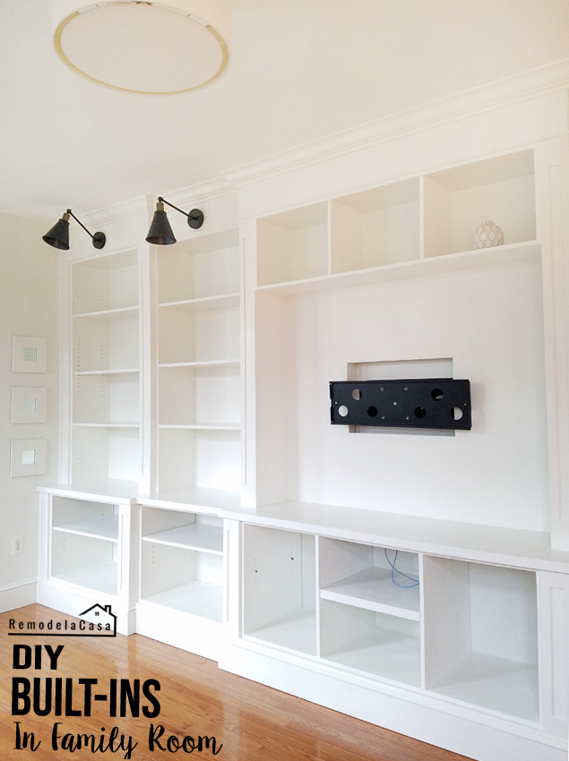 White built-it entertainment center and storage space