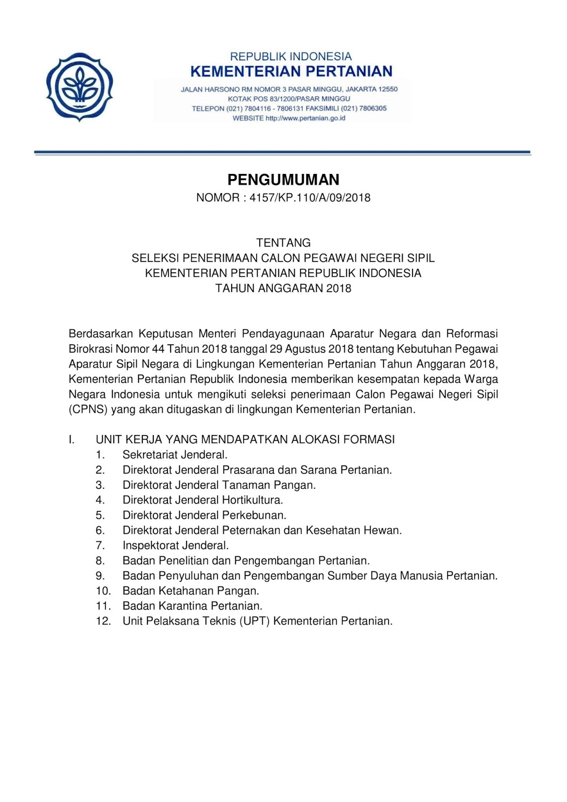 Penerimaan Cpns Kementerian Pertanian Republik Indonesia 835
