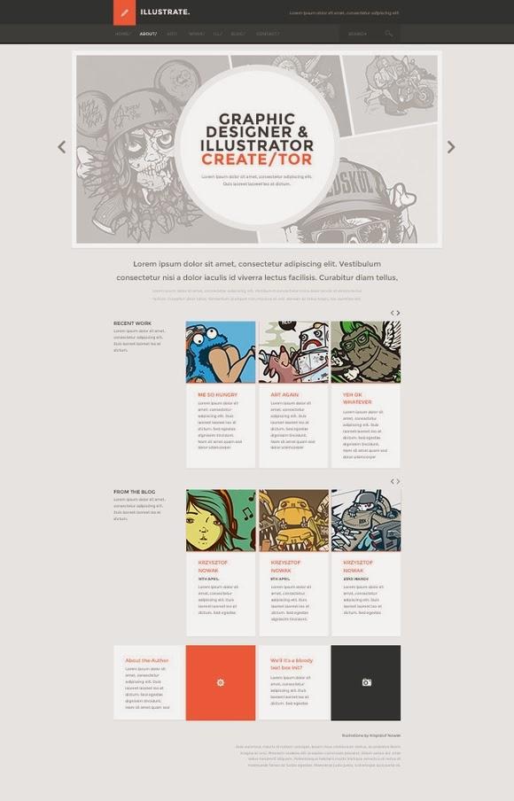 Illustrate Flat Design PSD Template