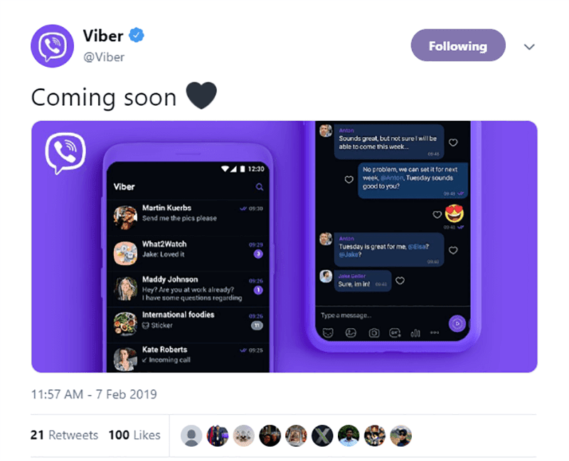 It was announced via Viber's official twitter account