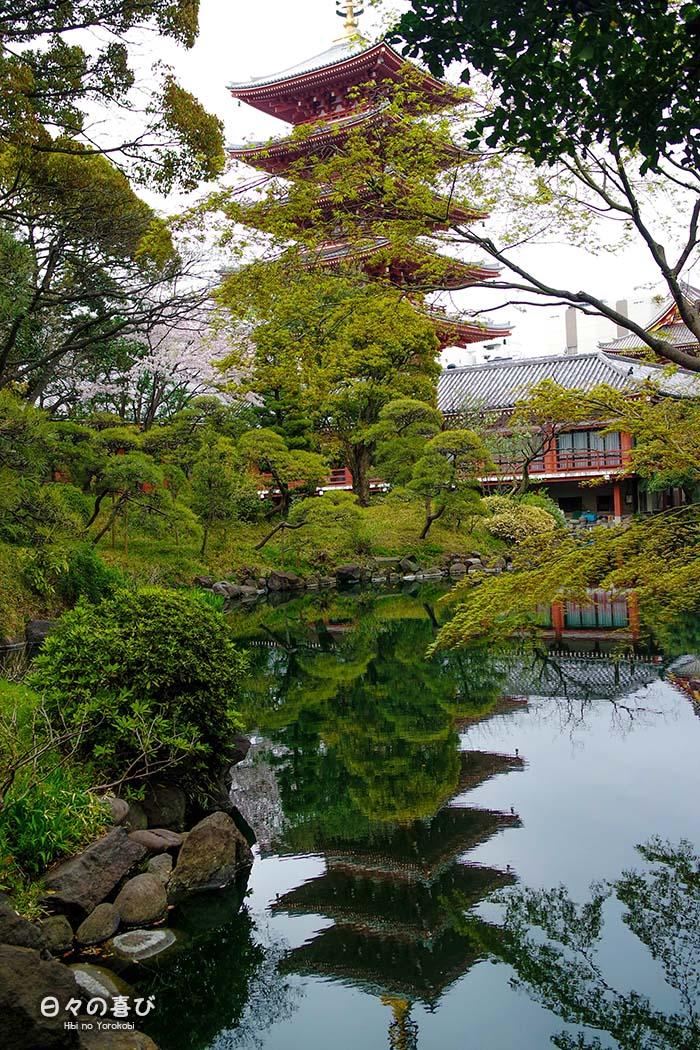 pagode sensoji reflet etang
