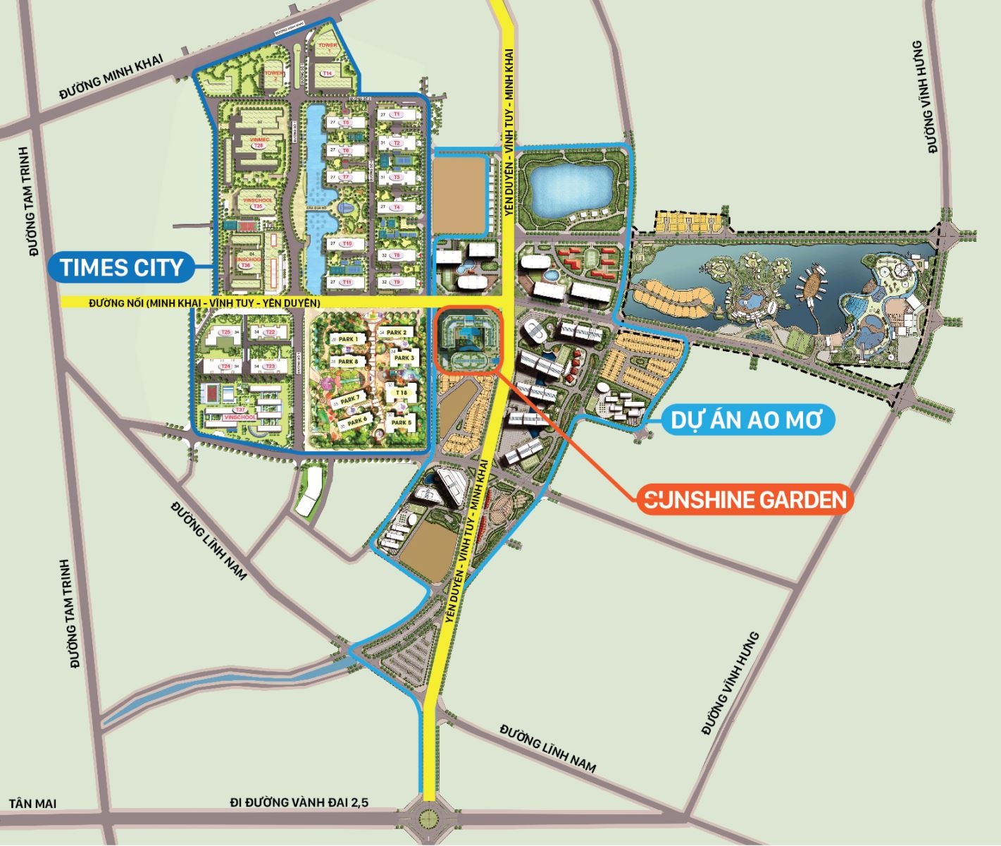 Bản đồ quy hoạch quận Hoàng Mai và giá trị tương lai của Sunshine Garden