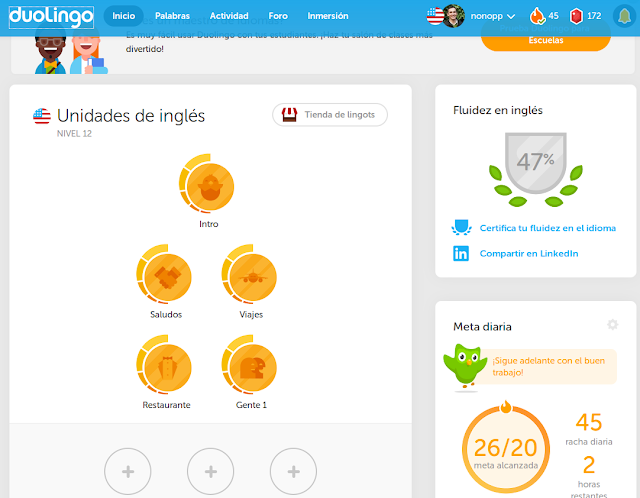Captura de pantalla escritorio de duolingo
