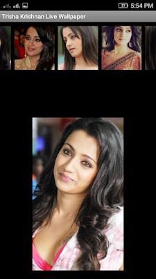 Trisha Krishnan 3D live Wallpaper For Android Mobile Phone