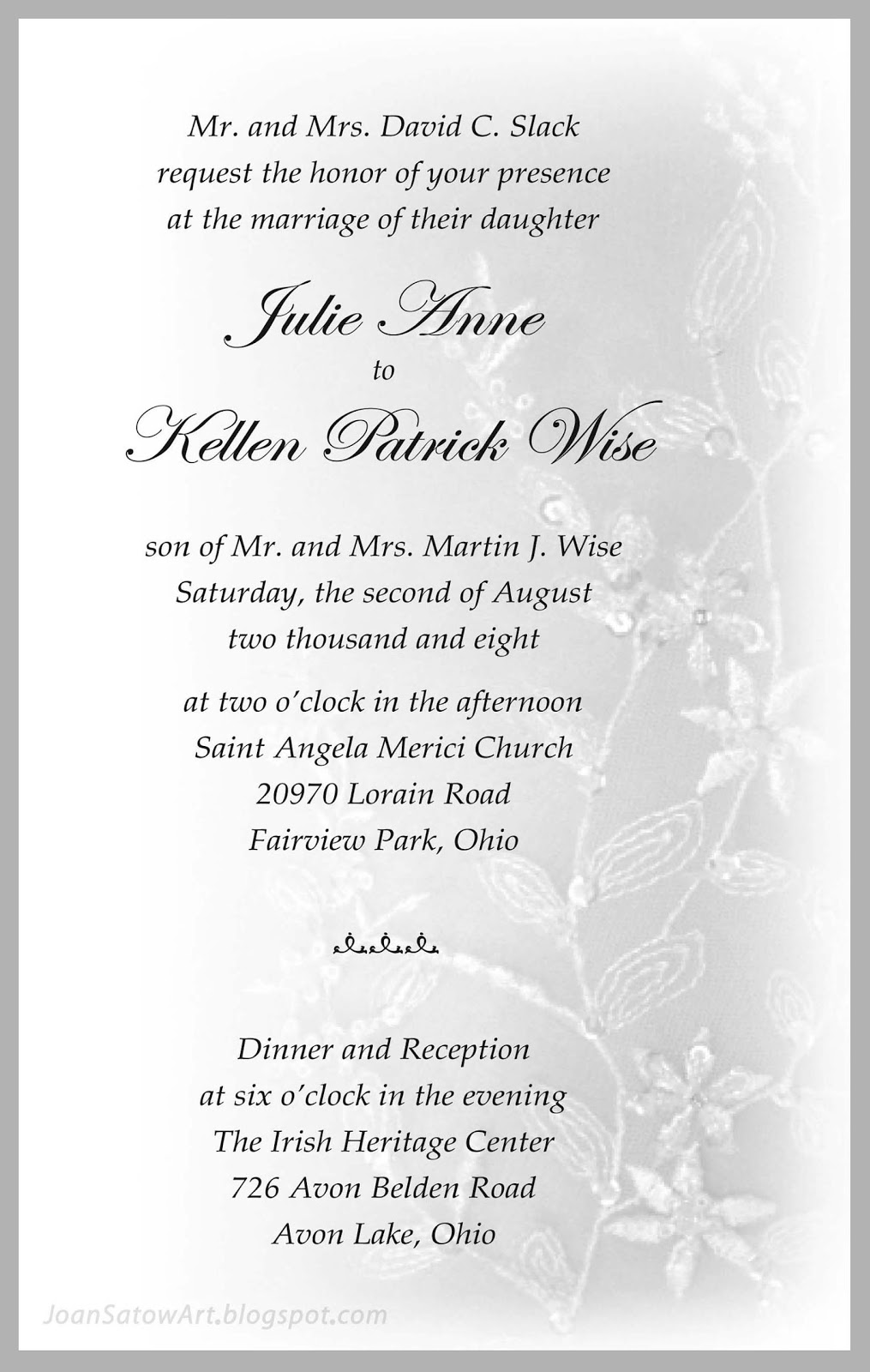 Joan Satow: Special Occasion Graphics • Invites • Etc