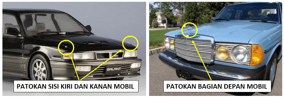 patokan segi kiri mobil, kanan dan depan